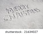 The words Merry Christmas written in the snow - stock photo