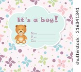 baby boy arrival card. baby... | Shutterstock .eps vector #216341341