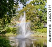 Small photo of RIGA, LATVIA - SEP 7, 2014: Fountain in the Kronvalda park in Riga, Latvia. Park is named after the Latvian linguist Atis Kronvald