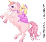 princess and fairy tale unicorn | Shutterstock .eps vector #216380299