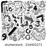 set of arrows  hand drawn... | Shutterstock .eps vector #216402271