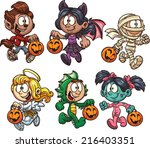 Cartoon Halloween Kids. Vector...