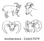 set of painted ram's head | Shutterstock .eps vector #216417079