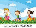 illustration of the kids... | Shutterstock . vector #216427801