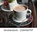 cup of coffee on table in cafe   Shutterstock . vector #216436747