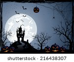 halloween night background with ... | Shutterstock .eps vector #216438307