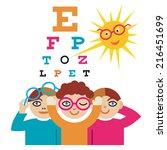 children at the eye doctor. the ... | Shutterstock .eps vector #216451699
