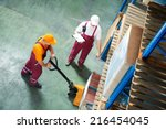 Workers With Fork Pallet Truck...