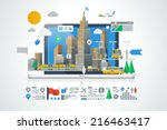 colorful city background with... | Shutterstock .eps vector #216463417