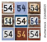 Small photo of Collage of House Numbers Fifty-four