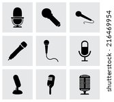 vector black microphone icons... | Shutterstock .eps vector #216469954