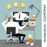 boss in the office  | Shutterstock .eps vector #216492964