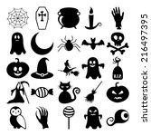 set of black icons on white... | Shutterstock . vector #216497395