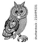 original artwork of owl  ink...   Shutterstock . vector #216499231