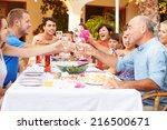large family group celebrating... | Shutterstock . vector #216500671