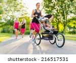 active mother jogging | Shutterstock . vector #216517531