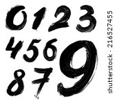 black handwritten numbers on ... | Shutterstock . vector #216527455