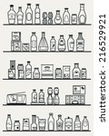 store shelves with different... | Shutterstock .eps vector #216529921