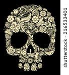 Skull Of Floral Shapes. Eps8....