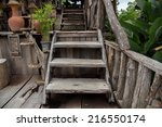 Old Wooden Stairs In The Garden