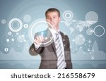 businessman in suit finger... | Shutterstock . vector #216558679