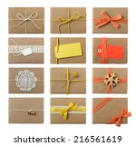 gift wrapping inspiration  ... | Shutterstock . vector #216561619