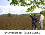 farmers viewing ploughed fields ... | Shutterstock . vector #216566557