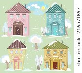 collection of cute houses | Shutterstock .eps vector #216571897