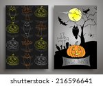 set of three halloween  card... | Shutterstock .eps vector #216596641
