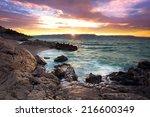 sunrise over the rocky beach on ... | Shutterstock . vector #216600349
