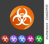 biohazard flat icon badge | Shutterstock .eps vector #216602935