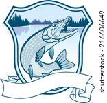 vector emblem with fish pike | Shutterstock .eps vector #216606649
