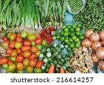 various fresh vegetables in... | Shutterstock . vector #216614257