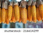 Ripe Dried Corn Cobs Hanging