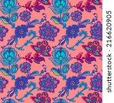 floral boho seamless pattern.... | Shutterstock .eps vector #216620905