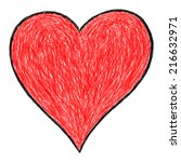 Hand Drawn Red Heart Sign With...