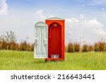 Standalone Of Red Toilet With...