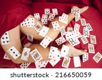 a woman laying in her red... | Shutterstock . vector #216650059