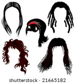 set of brunette hair style...   Shutterstock .eps vector #21665182