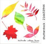 Vector Watercolor Autumn Leave...