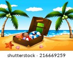 illustration of a beach outing | Shutterstock .eps vector #216669259