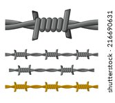 barbed wire seamless set on... | Shutterstock .eps vector #216690631