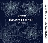 Halloween Set With Web. Vector...