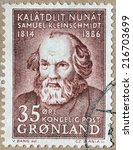 Small photo of GREENLAND - CIRCA 1964: A stamp printed by DENMARK shows image portrait of Samuel Petrus Kleinschmidt - German, Danish missionary linguist born in Greenland, circa 1964