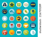 set of summer tourism icons | Shutterstock .eps vector #216705289