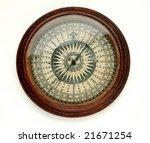 Antique Round Wooden Compass O...
