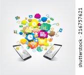 social communication background | Shutterstock .eps vector #216757621