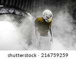 football player  on a yellow... | Shutterstock . vector #216759259