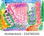 child fingerpainting of... | Shutterstock . vector #216760141