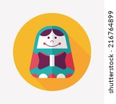 russian doll flat icon with... | Shutterstock .eps vector #216764899